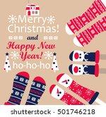 family  feet in christmas socks.... | Shutterstock .eps vector #501746218