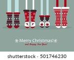 family  feet in christmas socks.... | Shutterstock .eps vector #501746230