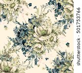 Stock photo watercolor seamless pattern wild bunch n the pattern of watercolor sketches by hand beautiful 501753766
