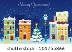 merry christmas cityscape with... | Shutterstock .eps vector #501755866
