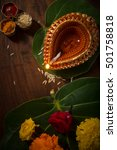 indian puja set up and objects. ... | Shutterstock . vector #501758818