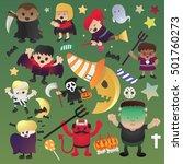 vintage halloween poster design ... | Shutterstock .eps vector #501760273