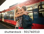 beautiful couple hugging after... | Shutterstock . vector #501760510