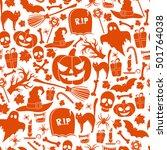 seamless pattern of halloween... | Shutterstock .eps vector #501764038