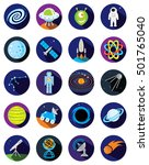 set of round space icons. | Shutterstock .eps vector #501765040