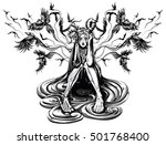 demon behind the ravens fly | Shutterstock .eps vector #501768400