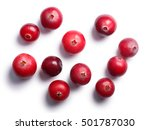 Wild cranberries (Vaccinium oxycoccus), top view. Clipping paths, shadow separated. Layers: https://goo.gl/ByzWR6