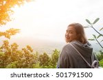 woman look at the mountain on... | Shutterstock . vector #501791500