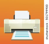 printer icon with paper sheet.... | Shutterstock .eps vector #501799900