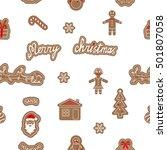 seamless gingerbread pattern.... | Shutterstock .eps vector #501807058