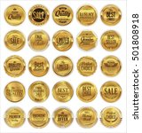 golden retro badges and laurel... | Shutterstock .eps vector #501808918