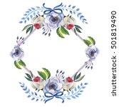 wildflower anemone flower frame ... | Shutterstock . vector #501819490