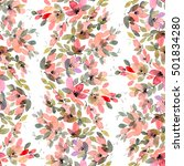 watercolor painted flowers with ... | Shutterstock . vector #501834280