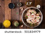 raw marinated chicken wings... | Shutterstock . vector #501834979