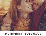 walking beloved girlfriend with ... | Shutterstock . vector #501836938