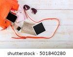 view on women bag stuff on...   Shutterstock . vector #501840280