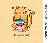 cute cartoon hand drawn cat... | Shutterstock .eps vector #501848530