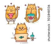 set of cute cartoon hand drawn... | Shutterstock .eps vector #501848536