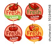 colorful fresh juice emblems... | Shutterstock .eps vector #501848548