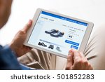 young man looking at shoes... | Shutterstock . vector #501852283