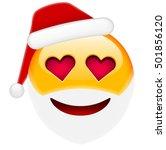 santa smile in love emoticon...   Shutterstock .eps vector #501856120