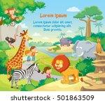 zoo with wild african animals... | Shutterstock .eps vector #501863509