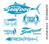 Set Of Seafood Logos. Grill ...