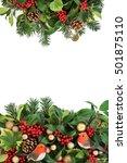 christmas decorative border... | Shutterstock . vector #501875110