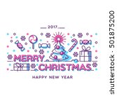 merry christmas outline style... | Shutterstock .eps vector #501875200