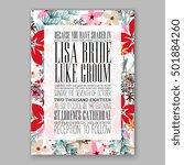 romantic pink peony bouquet... | Shutterstock .eps vector #501884260