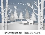deer in forest with snow in... | Shutterstock .eps vector #501897196