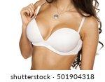woman breast in uplift ... | Shutterstock . vector #501904318