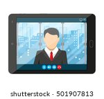 tablet pc with internet... | Shutterstock .eps vector #501907813