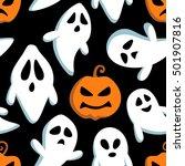 happy halloween seamless... | Shutterstock .eps vector #501907816