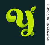 y letter logo with green leaves.... | Shutterstock .eps vector #501909340