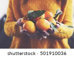 woman in yellow knitted... | Shutterstock . vector #501910036
