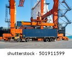 crane and container | Shutterstock . vector #501911599
