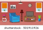 modern spacious room with... | Shutterstock .eps vector #501911926