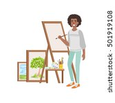 guy painting landscapes ... | Shutterstock .eps vector #501919108