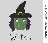 character scary witch in flat... | Shutterstock .eps vector #501920179