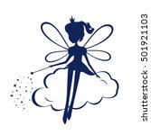fairy silhouette with a magic... | Shutterstock .eps vector #501921103