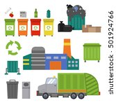 garbage cans  truck  trash... | Shutterstock .eps vector #501924766