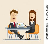 business man and woman sit at... | Shutterstock .eps vector #501925609