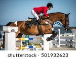 Stock photo horse jumping equestrian events 501932623