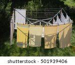 Stock photo laundry on a rotary dryer 501939406