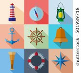 set of simple nautical flat... | Shutterstock .eps vector #501939718
