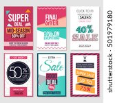 set of abstract flat sale cards ... | Shutterstock .eps vector #501979180