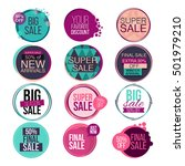 set of abstract flat sale cards ... | Shutterstock .eps vector #501979210