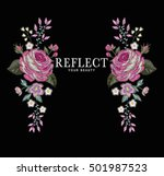 flower embroidery for t shirt | Shutterstock .eps vector #501987523