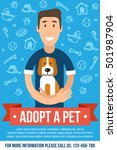 Stock vector vector template for pet adoption poster happy man is hugging an adopted dog flat style 501987904